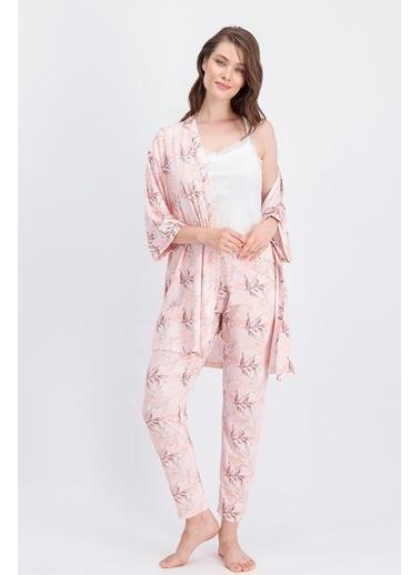 Arnetta Arnetta Leaf Krem Kadın Pijama Takımı, Sabahlık 3'Lü Takım Krem